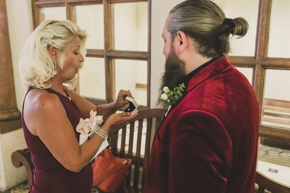 groom gifts mother gift during wedding day prep