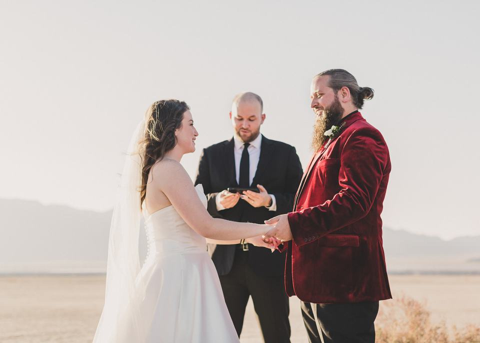 couple exchanges vows during Las Vegas microwedding