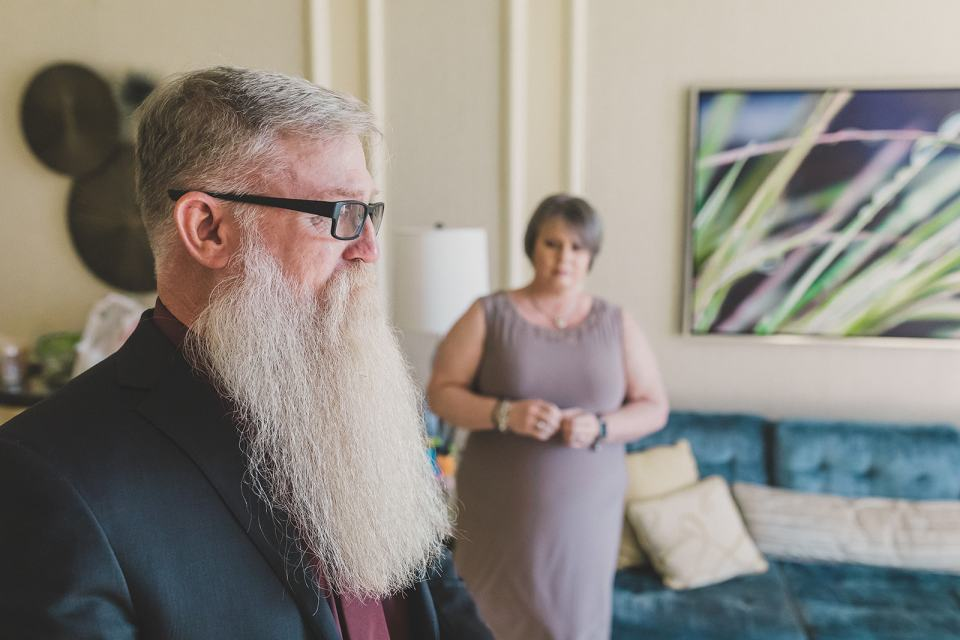 dad's emotional reaction to bride during first look