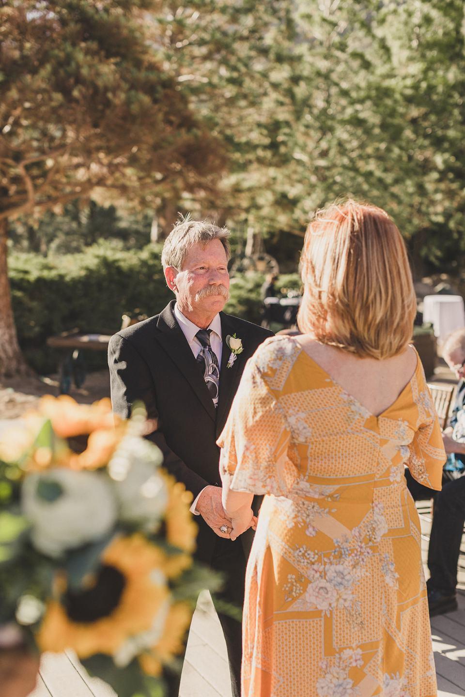 groom looks at bride during Mt Charleston Lodge Microwedding