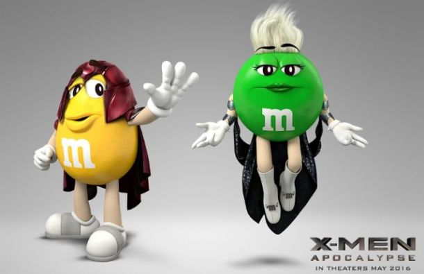 "Today, Mars Chocolate North America announced a partnership between M&M'S(R) Chocolate Candies and 20th Century Fox's upcoming motion picture event ""X-Men: Apocalypse."" The deal makes M&M'S the exclusive chocolate and confectionary promotional partner of the film, which opens Friday, May 27 and is considered one of the most widely anticipated movies of 2016. M&M'S Brand will leverage the partnership with a full 360-degree campaign that will feature its trademark M&M'S spokescandies, and include retail displays and packaging activations, TV and in-cinema advertising, consumer promotions, PR and digital media. (PRNewsFoto/Mars, Incorporated)"