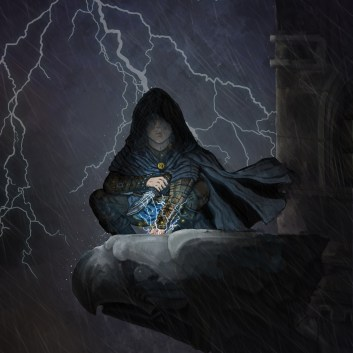 Image of the cloaked and hooded thief Salvatori Lorenzo, perched upon a gargoyle with a handful of lightning. Traditional and digital Illustration by Taylor O'Connell.