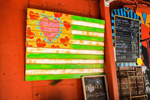 A heart rendition of the American flag and a coffee board at the Canyon Country Store in Laurel Canyon