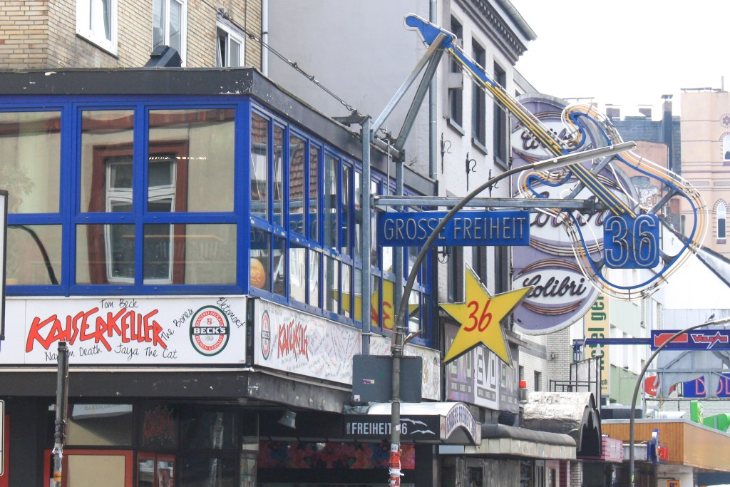 A street-view of the Kaiserkeller and other music venues on Grosse Freiheit in Hamburg, Germany