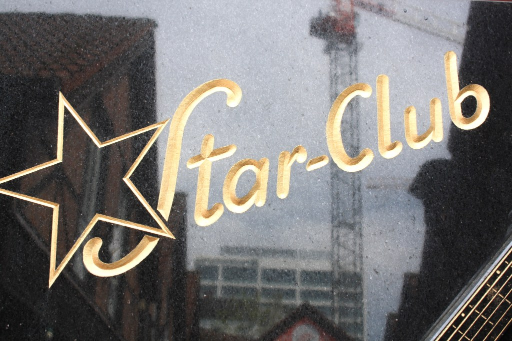 A close-up shot of the Star Club logo at the Star Club in Hamburg, Germany