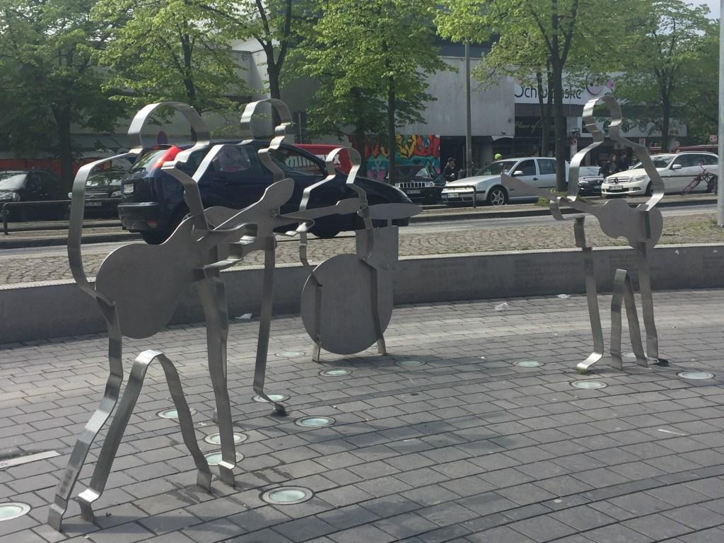 Cookie cutter Beatles statues at Beatles Platz in Hamburg, Germany