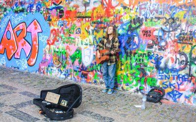 Graffiti and Velvet at the John Lennon Wall in Prague