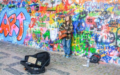 Graffiti and Velvet at the John Lennon Wall in Prague