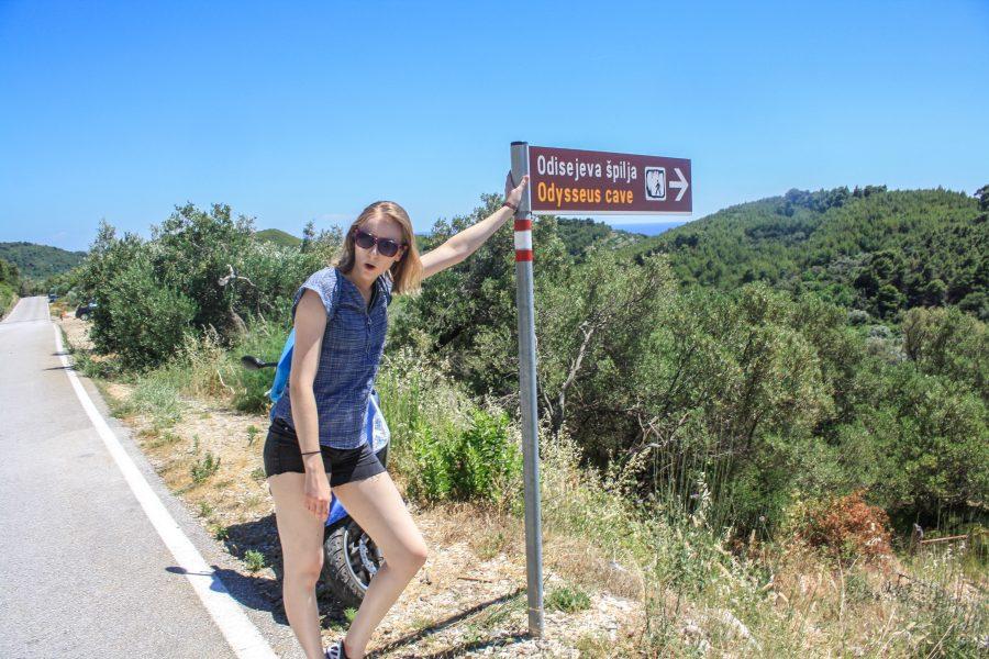 The trailhead marker to hiking Odysseus Cave on Mljet Island