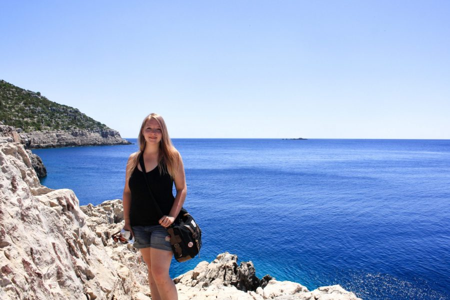 Hiking to Odysseus Cave with a view of the Adriatic Sea in the background