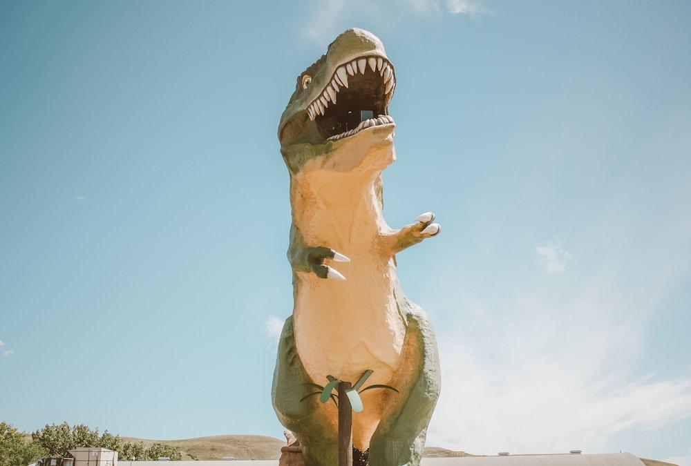 The Worlds largest dinosaur statue in downtown Drumheller alberta