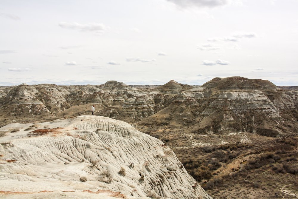 Taylor on a Trip stands on a cliff edge overlooking the canyon at Dinosaur Provincial Park, Alberta