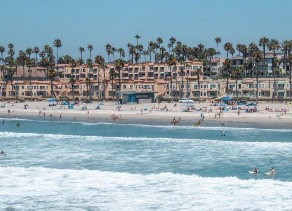 oceanside california with palm trees, the beach, and the ocean