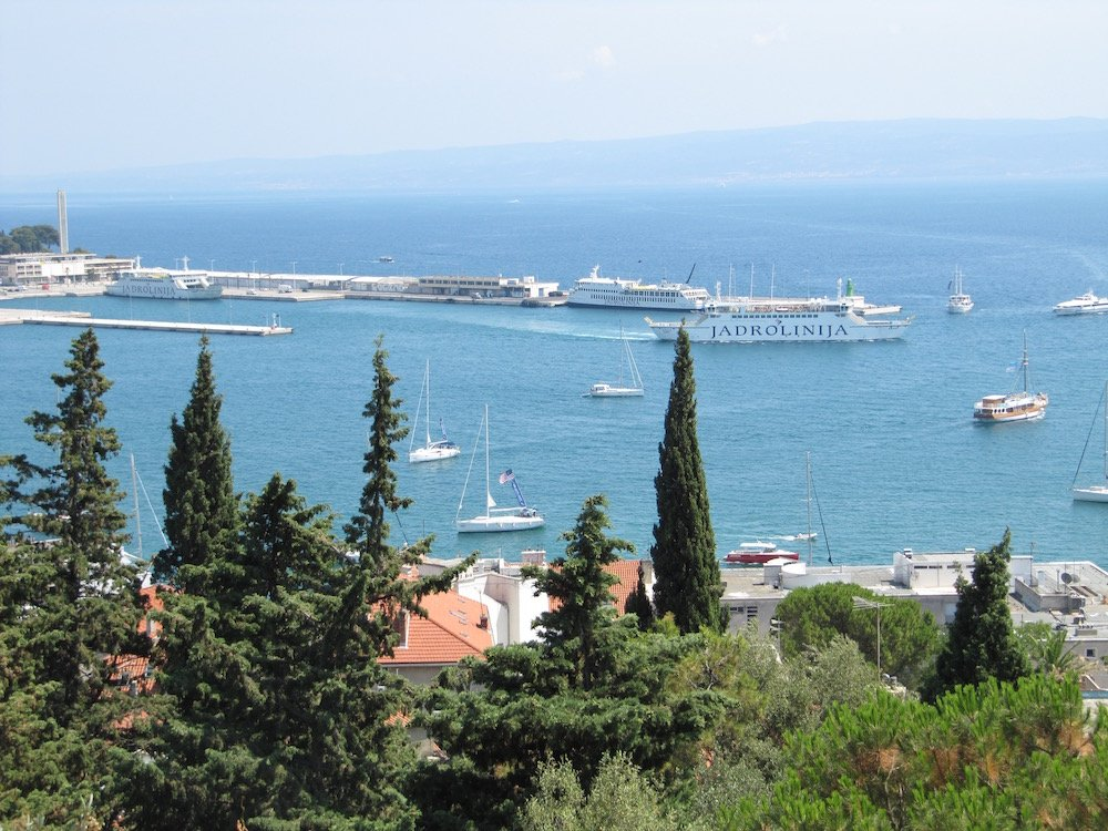A view of the Split harbor and boats from Park Suma Marjan Viewpoint