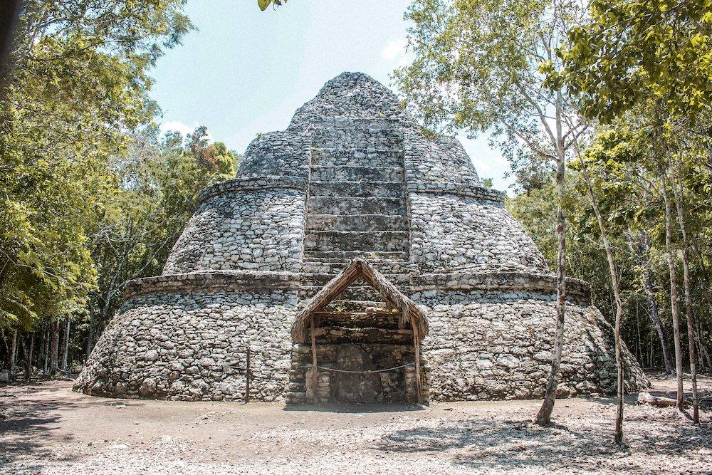 dome shaped building at coba mayan ruins in quintana roo, mexico