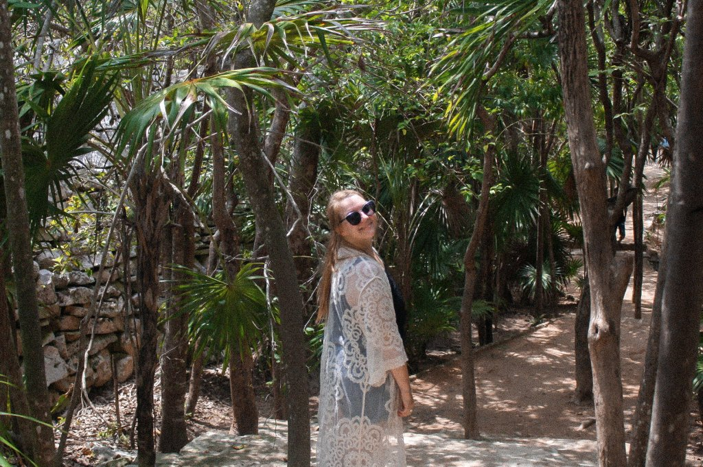 Taylor in the jungle near the Tulum Ruins in Mexico