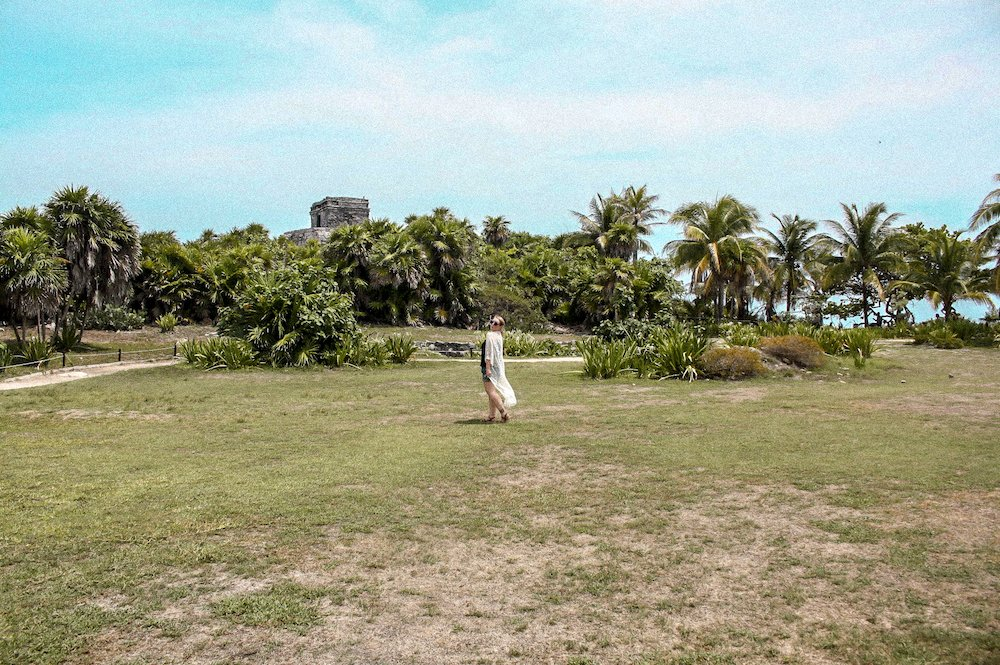 Taylor in front of the Tulum Ruins, in Tulum, Mexico