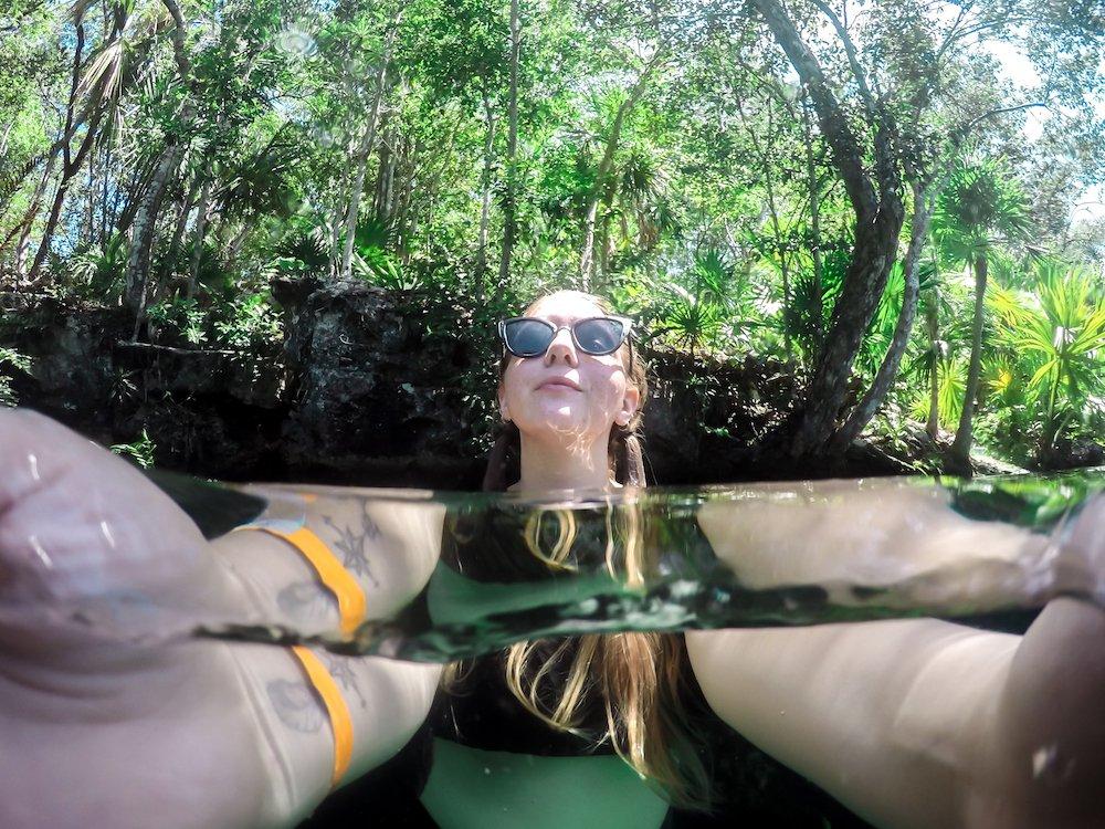 Taylor at Cenote Jardin del Eden near Tulum, Mexico