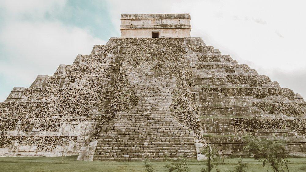 A backside view of the main pyramid of Chichen Itza, El Castillo, in Mexico