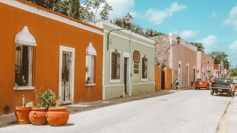 A colorful street in Valladolid Mexico