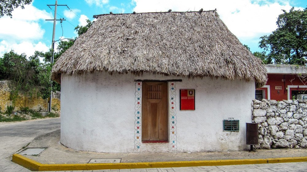 A traditional Mayan hut in downtown Valladolid Mexico