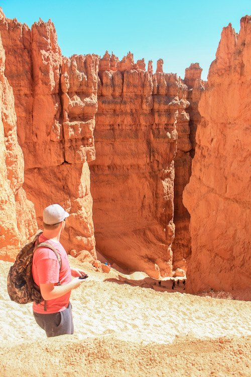 Descending into Wall Street on the Navajo Loop Trail in Bryce Canyon Utah