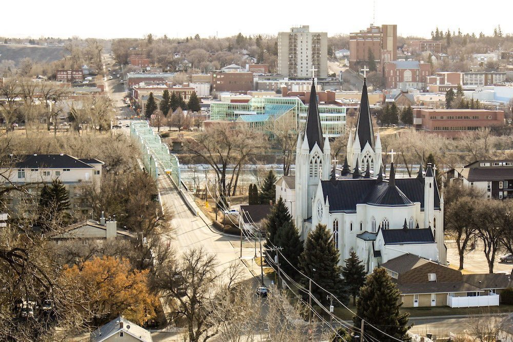 An aerial view of downtown Medicine Hat Alberta in the late fall