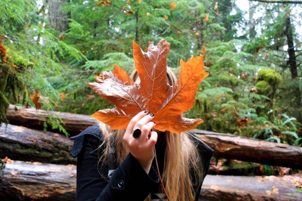 Taylor holds a giant orange maple leaf in front of her face with pine trees in the background in Vancouver Island Canada