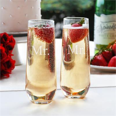 Taylor Street Favors Stemless Mr & Mr Champagne Toasting Flutes