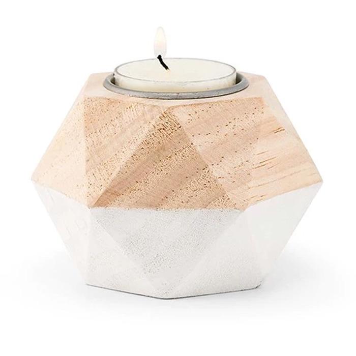 Geometric Wooden Tea Light Holder (Package Of 4)