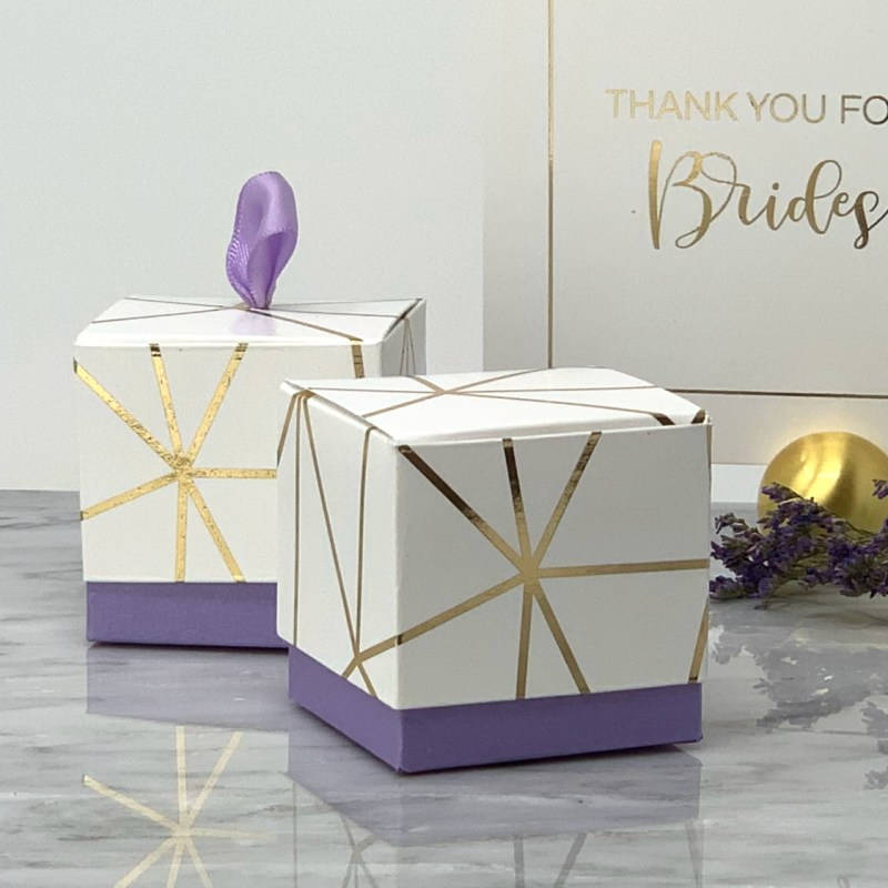 Geometric Favor Boxes in Purple and gold