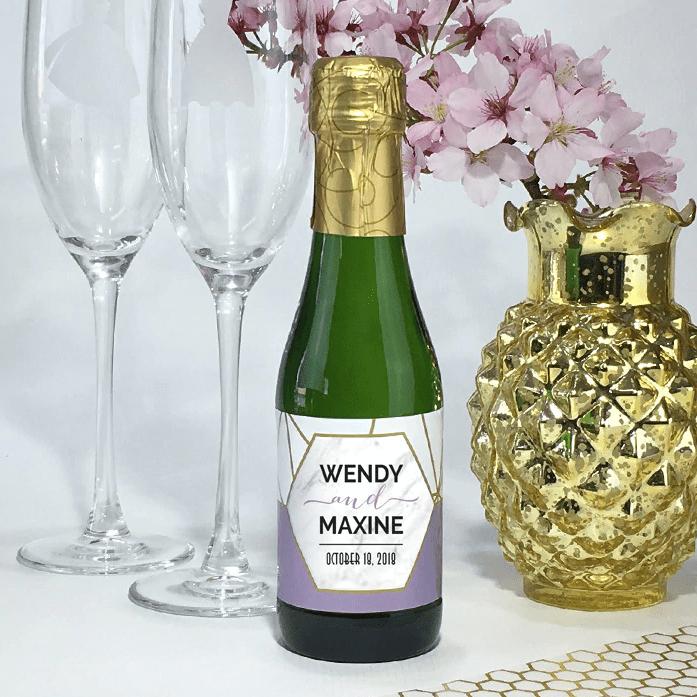Geometric Mini Wine Bottle Label