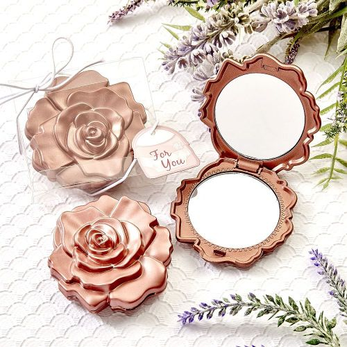 Rose Gold Compact Mirror with Rose Detail and Gift Box