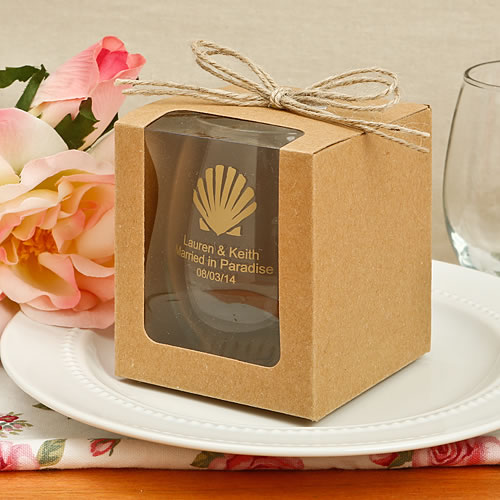 Kraft Gift Box with Twine Bow for 9 oz. Stemless Wine Glass