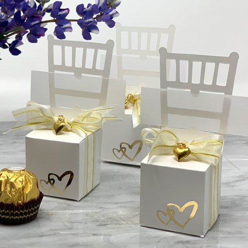 White Chair Favor Box & Place Card Holder with Gold Hearts for Weddings and Anniversaries