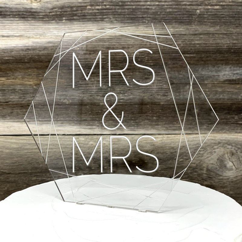 Modern Hexagon Wedding Cake Topper With Geometric Design