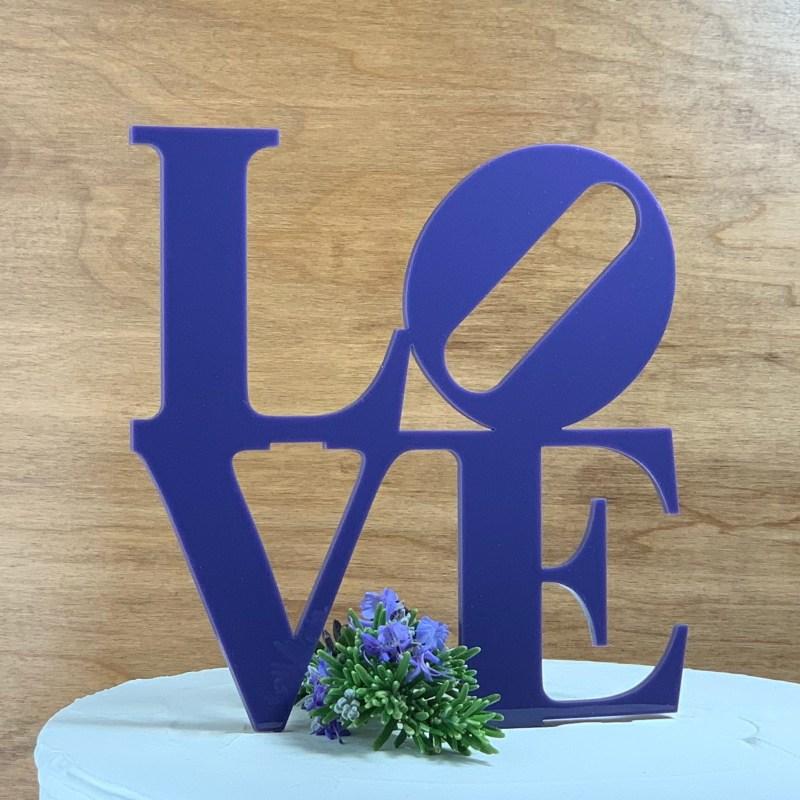 Purple Philadelphia LOVE Acrylic Cake Topper