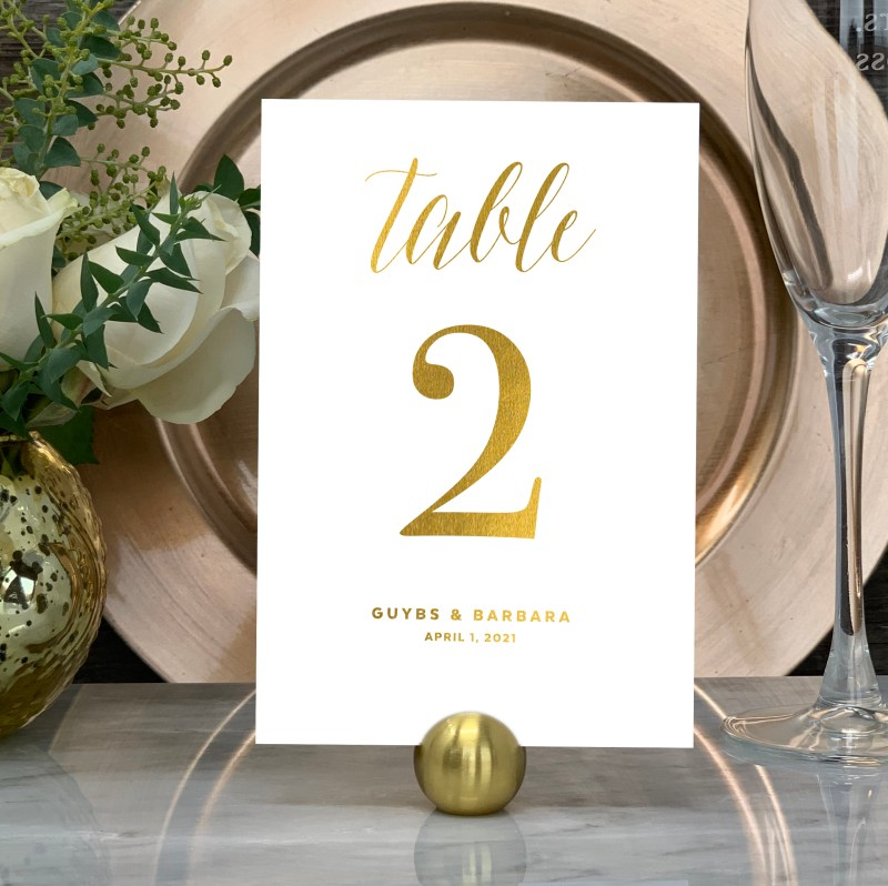 Our Traditional Wedding Table Numbers are shown here in gold foil.
