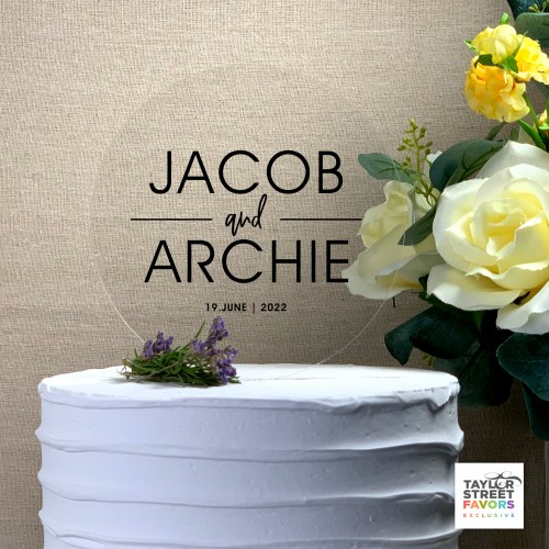 Modern Round Acrylic Wedding Cake Topper