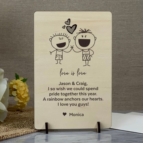 Gay Greeting Card, Pride Card, Thinking of You Card, Etched Wood Card,