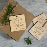 Script Names etched on Wood tag