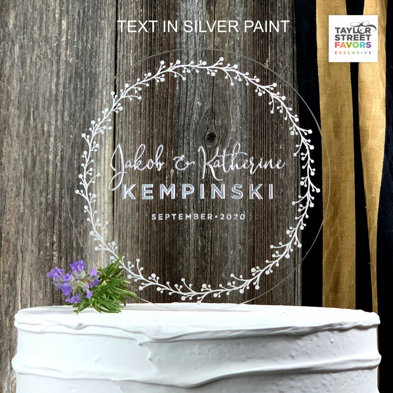Etched Wreath, Silver painted text