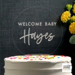 Baby Shower Cake Topper with Metallic Silver Lettering