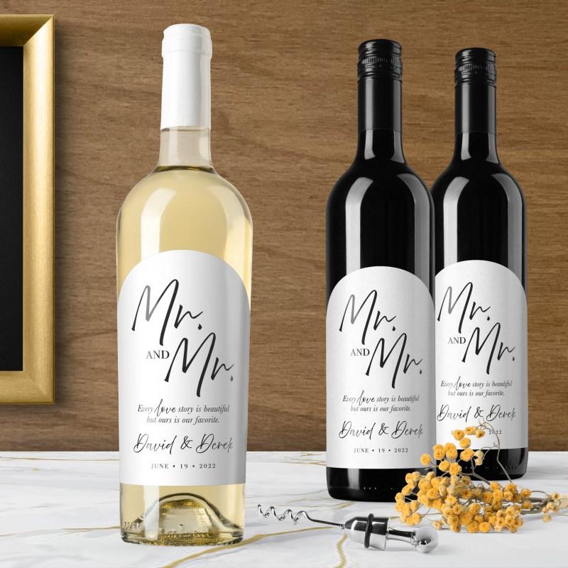 Printable Mr & Mr Labels for Wine Bottles