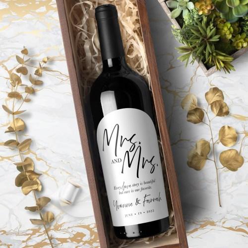 Mrs & Mrs Labels for Wine Bottles