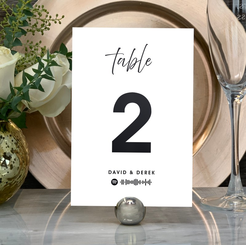 """Spotify """"Our Song""""Table Numbers - Black Foil"""