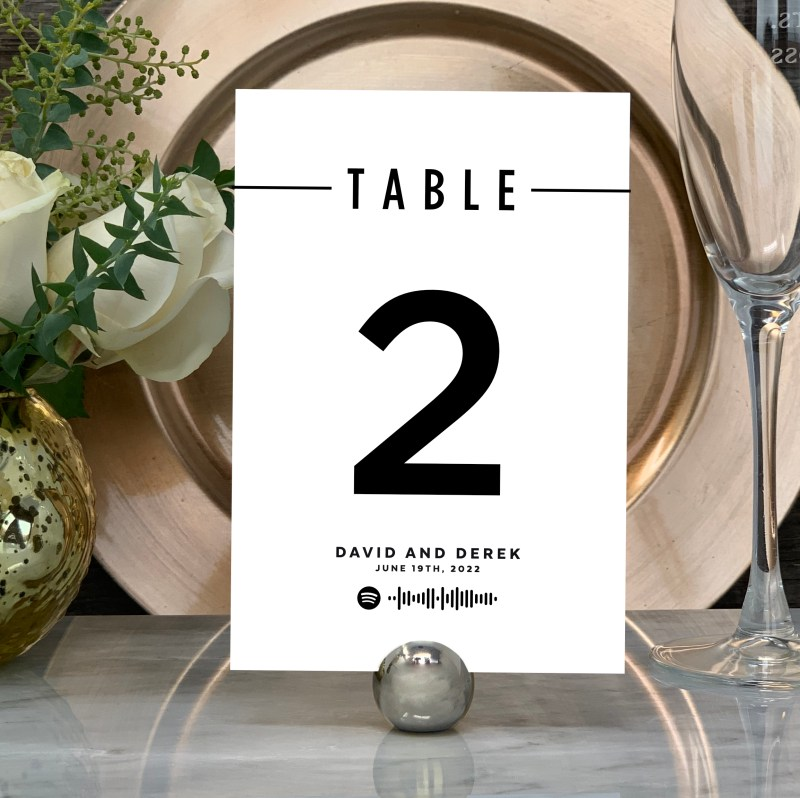 """Spotify """"Love Song"""" Table Numbers in Black Foil"""
