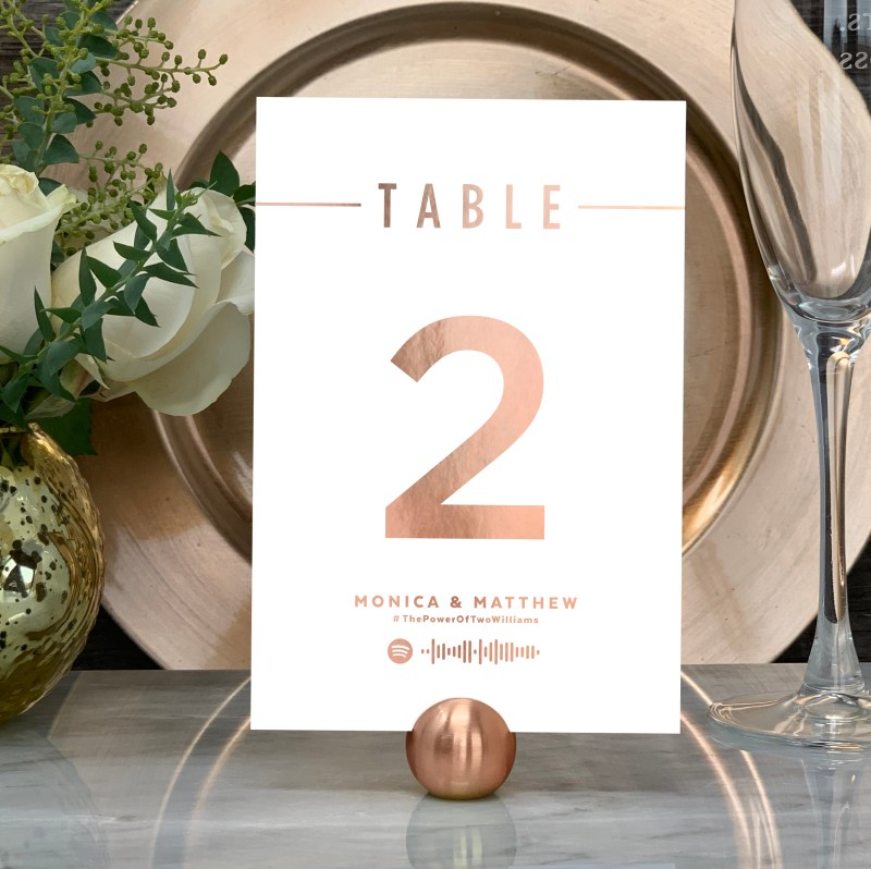 """Spotify """"Love Song"""" Table Numbers In Rose Gold Foil"""