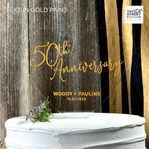 Round Script Anniversary Acrylic Cake Topper