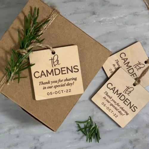 Last Name Design Wood Gift Tags